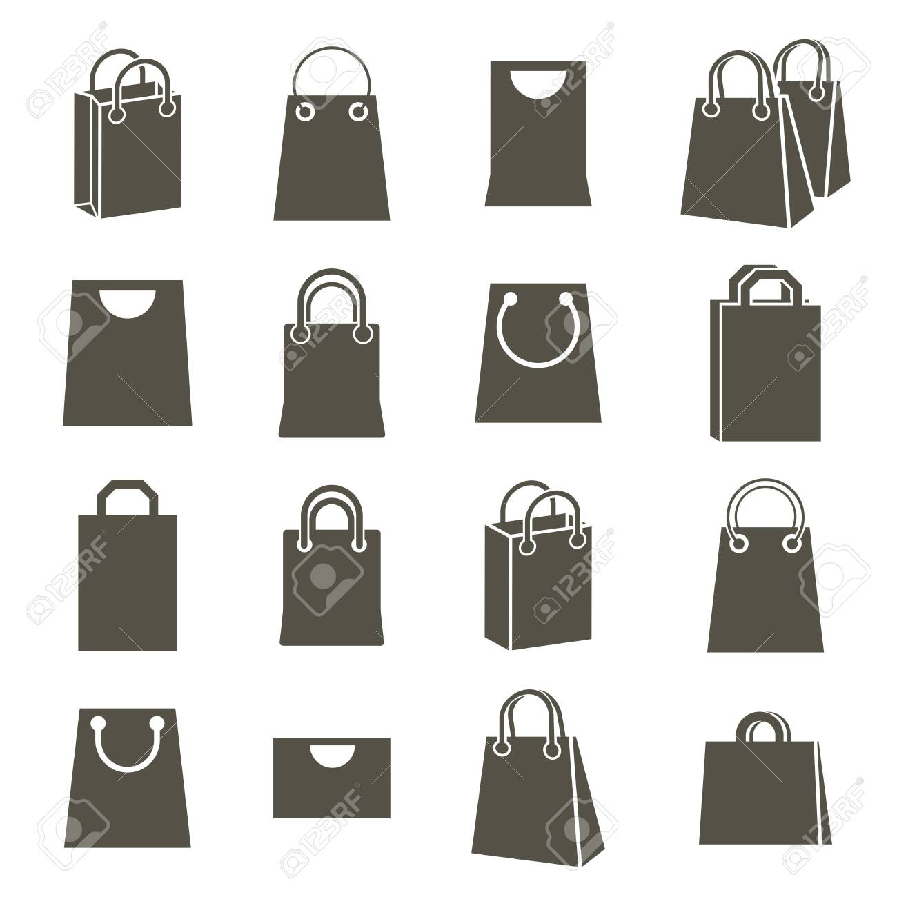 Shopping back icons isolated on white background vector set, shopping theme simplistic symbols vector collections. Stock Vector - 29718008