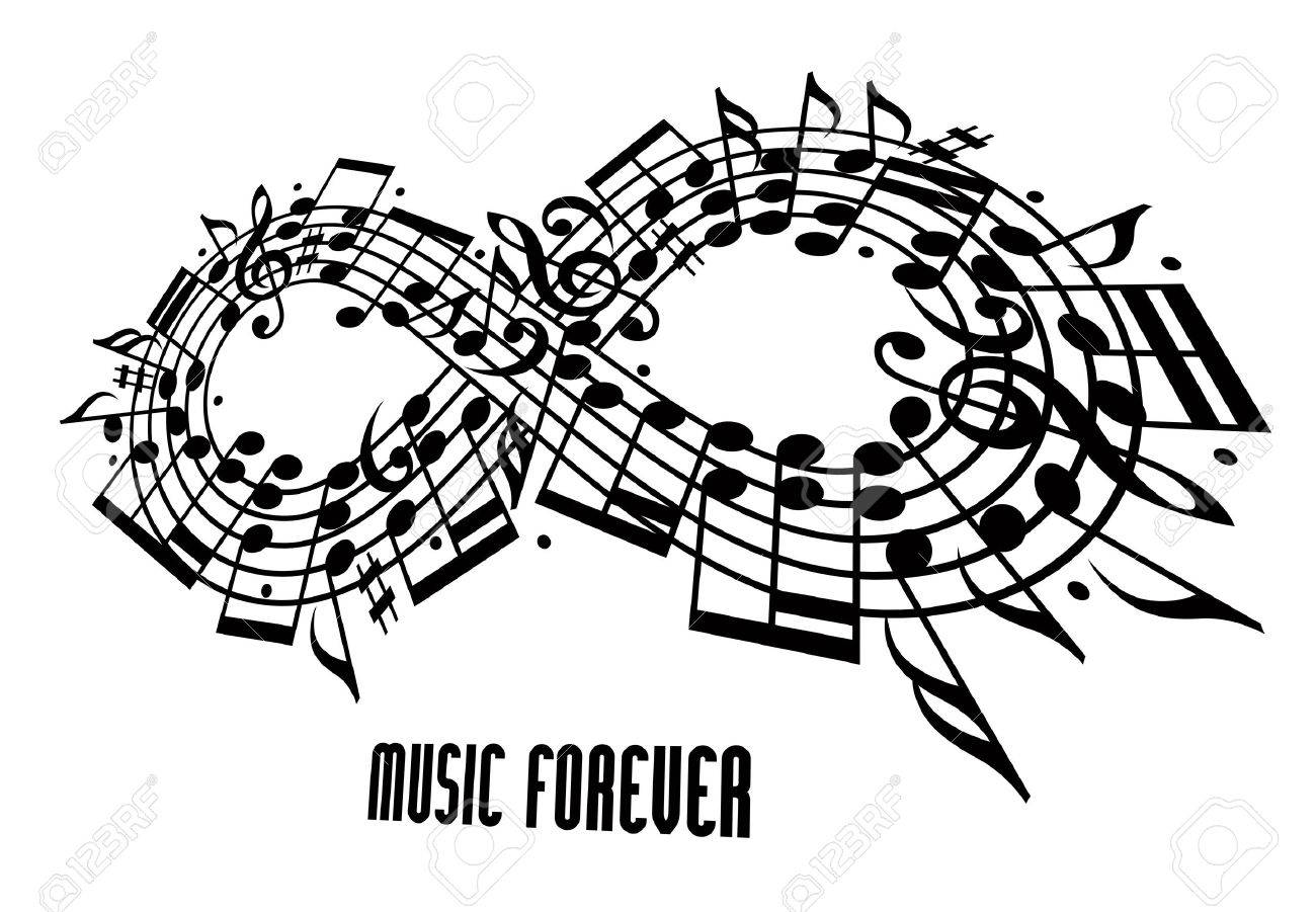 Forever Music Concept Infinity Symbol Made With Musical Notes