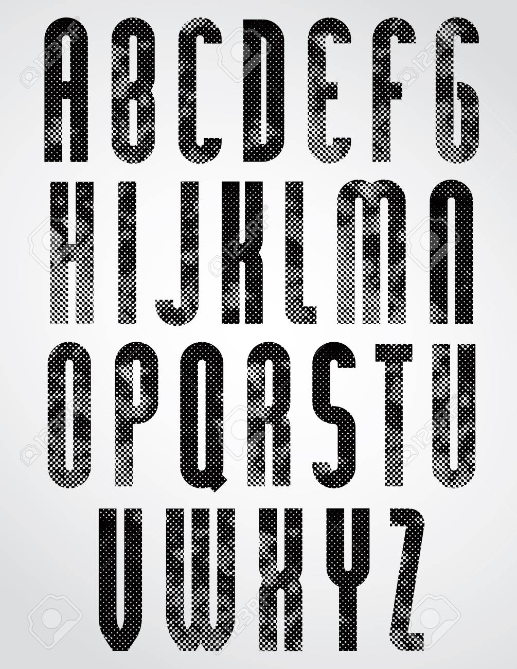 Black Dotty Graphic Upper Case Letters, Rounded Industrial Font ...