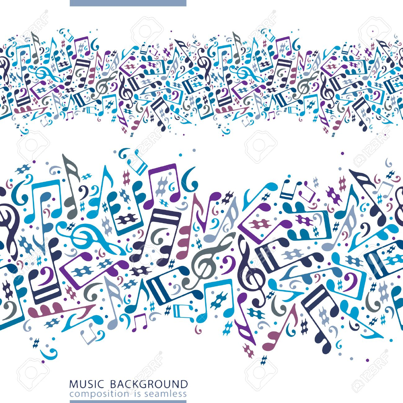 Vector colorful horizontal music canvas, seamless tape with striped musical notes on white background. Stock Vector - 29721400