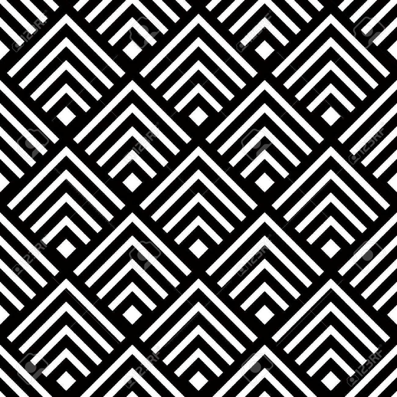 Seamless geometric vector background, simple black and white stripes vector pattern, accurate, editable and useful background for design or wallpaper. Stock Vector - 29722769