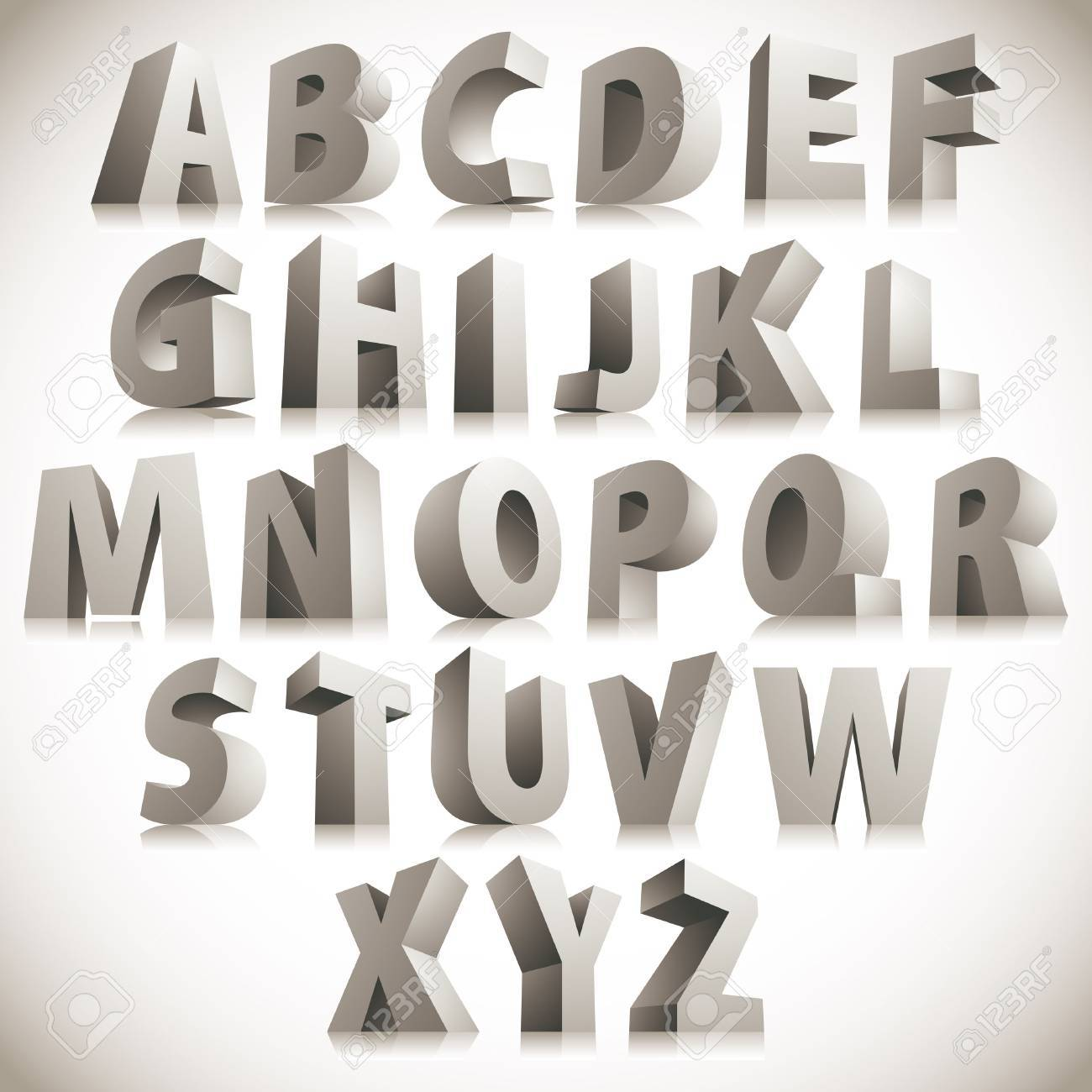 3D font, big white letters standing Stock Vector - 30241973