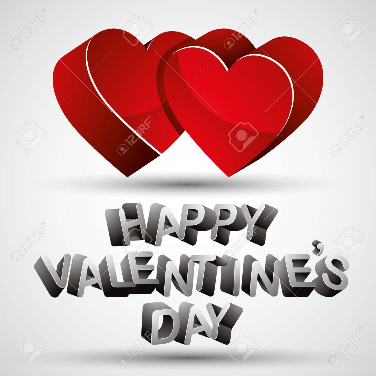 Feliz Día De San Valentín Frase Hecha Con Letras 3d Y Dos Corazones Rojos Sobre Fondo Blanco Tarjeta De San Valentín Vector