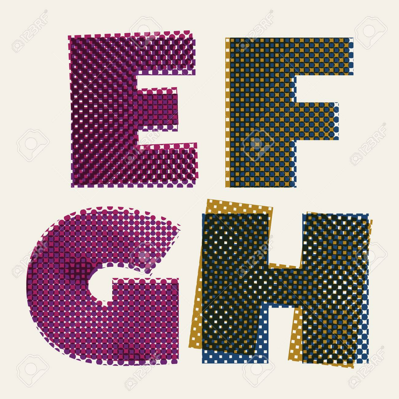 Color halftone printing - Color Halftone Printing Halftone Dots Font Dirty Grunge Color Pixels Print Texture Letters Vector Alphabet