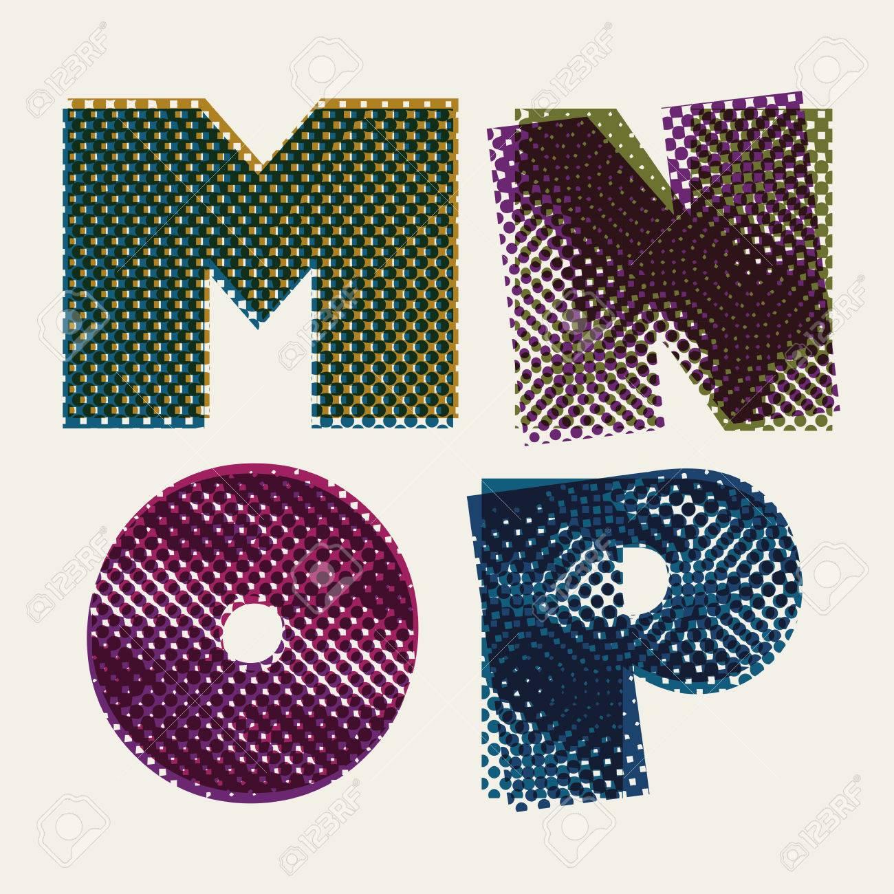 Color halftone printing - Halftone Dots Font Dirty Grunge Color Pixels Print Texture Letters Vector Alphabet Letters