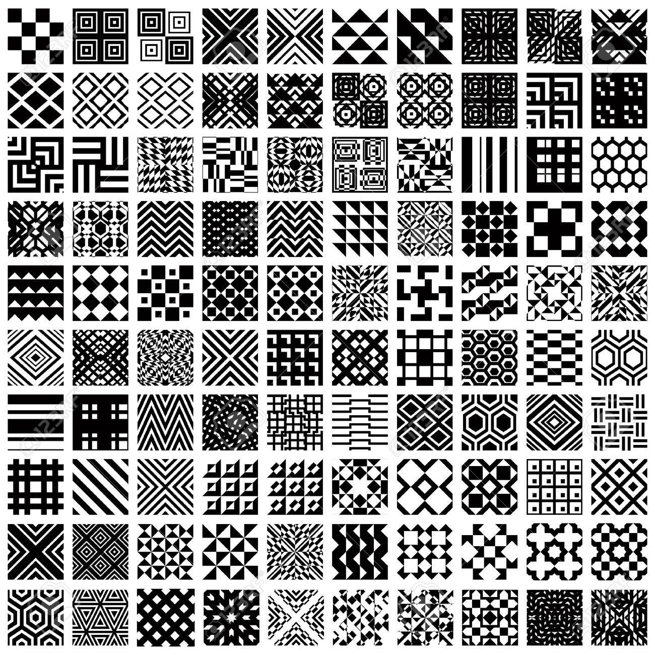 100 geometric seamless patterns set, black and white vector backgrounds collection. Stock Vector - 30251090