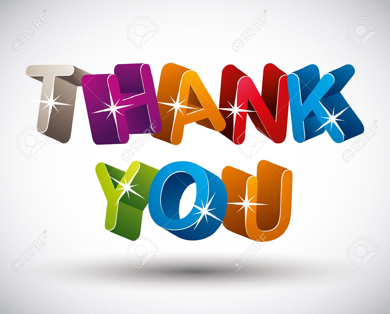 Thank you lettering made with 3d colorful letters isolated on white background, vector. Stock Vector - 30253440