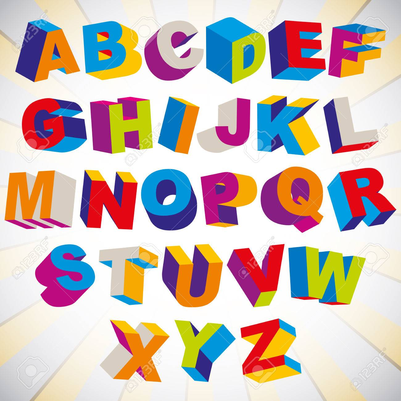 Alphabet Psychédélique police 3d, audacieux alphabet coloré psychédélique, vecteur. clip