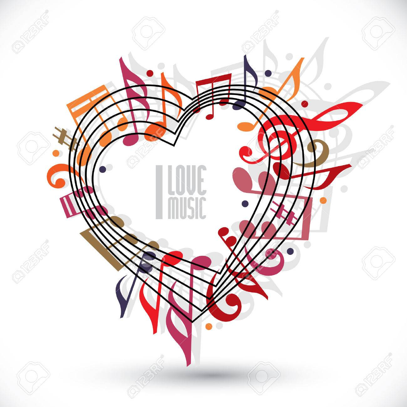 I love music, heart made with musical notes and clef Stock Vector - 30254268