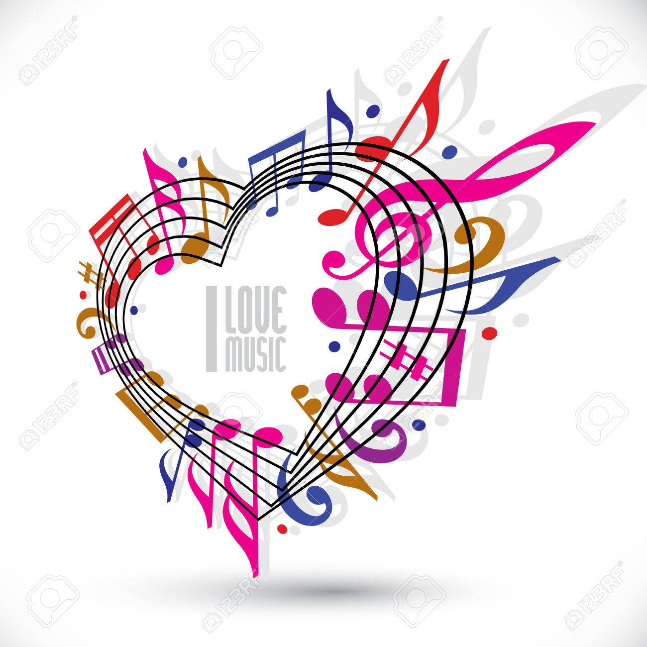 I love music template in red pink and violet colors, rotated in 3d, heart made with musical notes and clef - 30263149