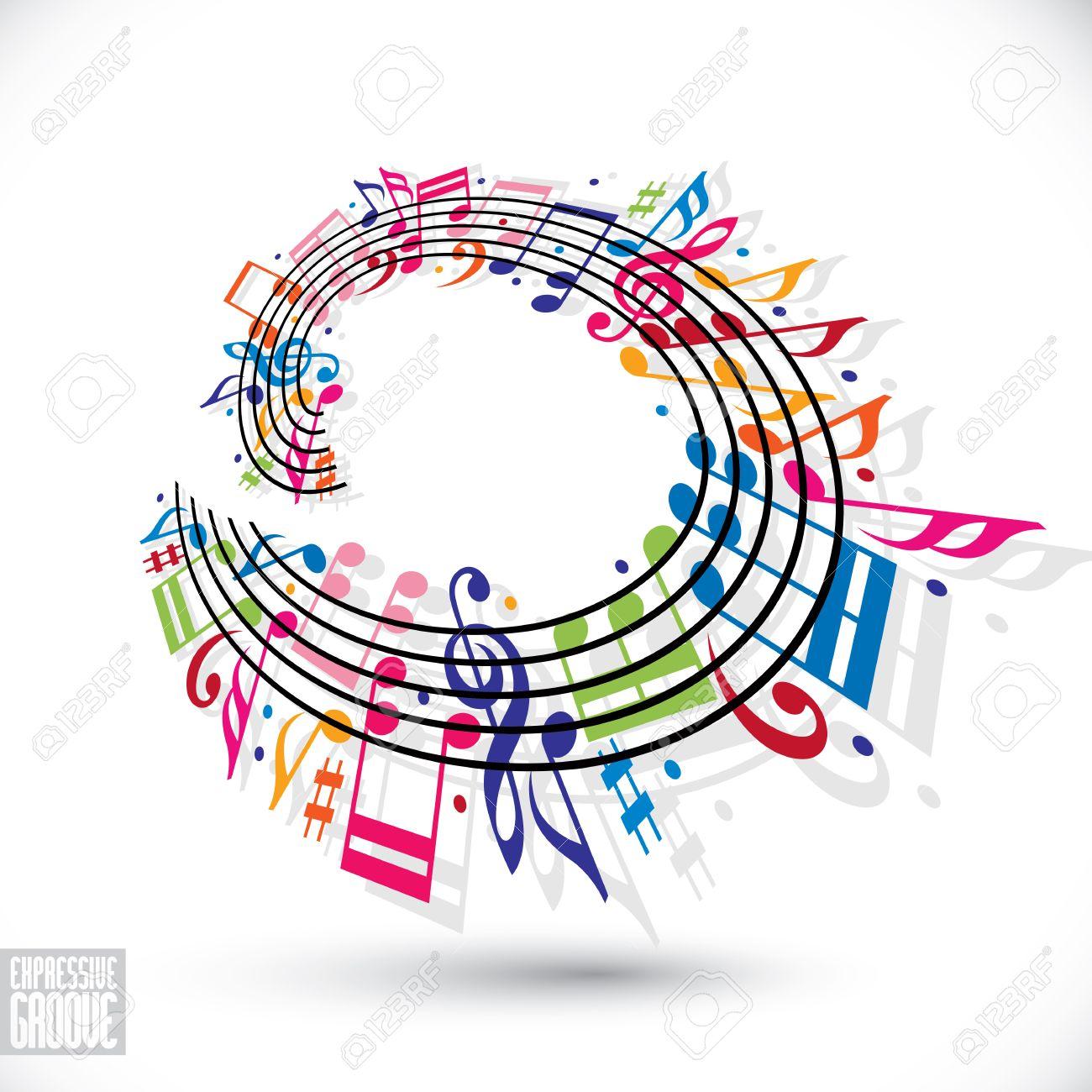 Concepto Ranura Expresivo. Fondo Colorido De La Música Con Clave Y ...