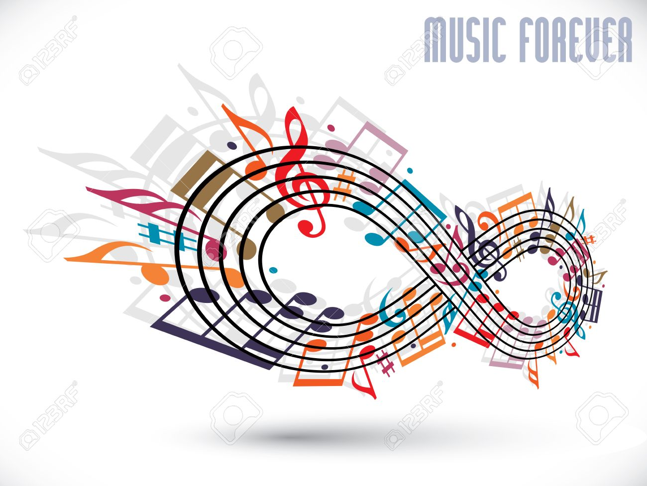Forever music concept infinity symbol made with musical notes forever music concept infinity symbol made with musical notes and treble clef rotated in biocorpaavc Gallery