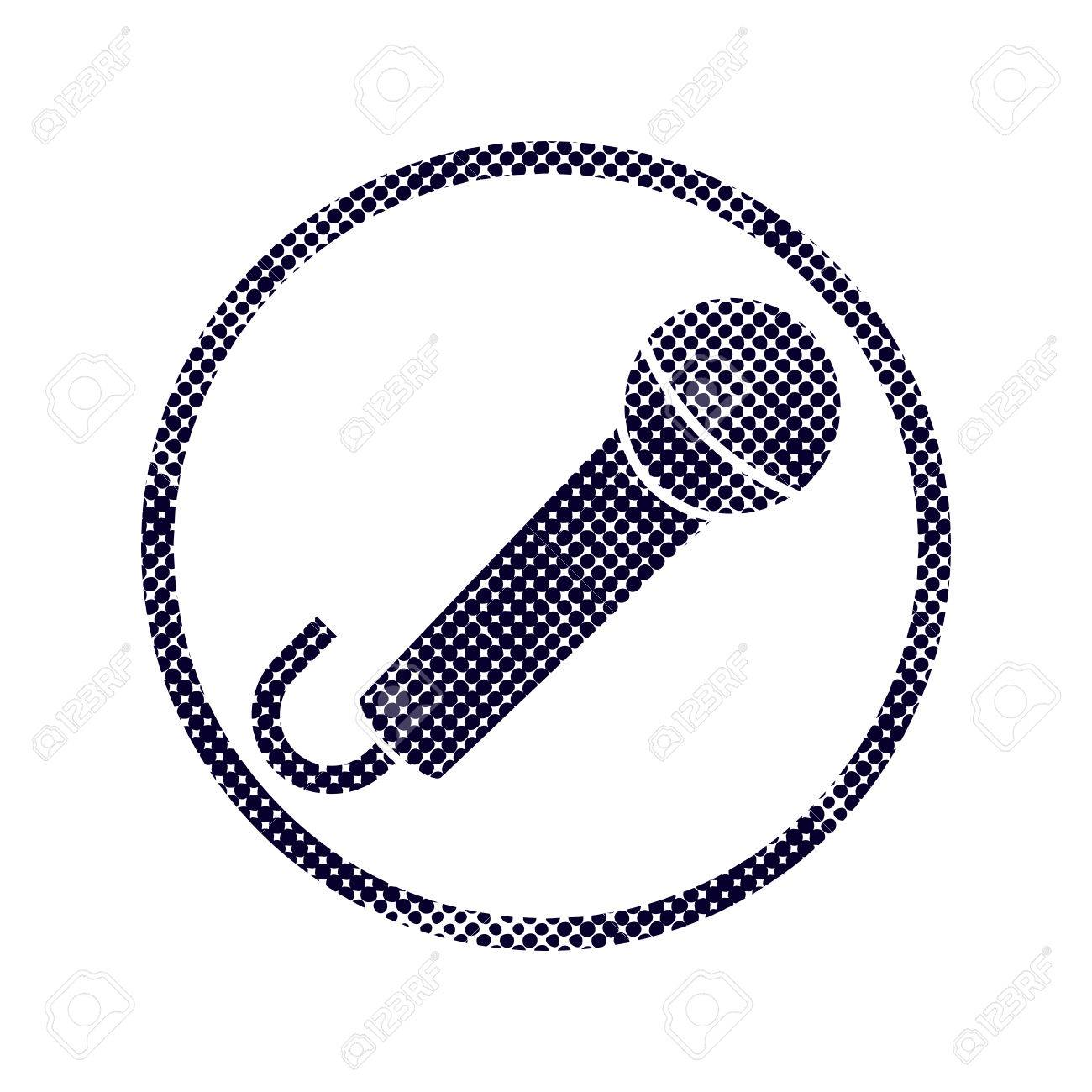 Microphone Icon With Halftone Dots Print Texture Macro Newspaper