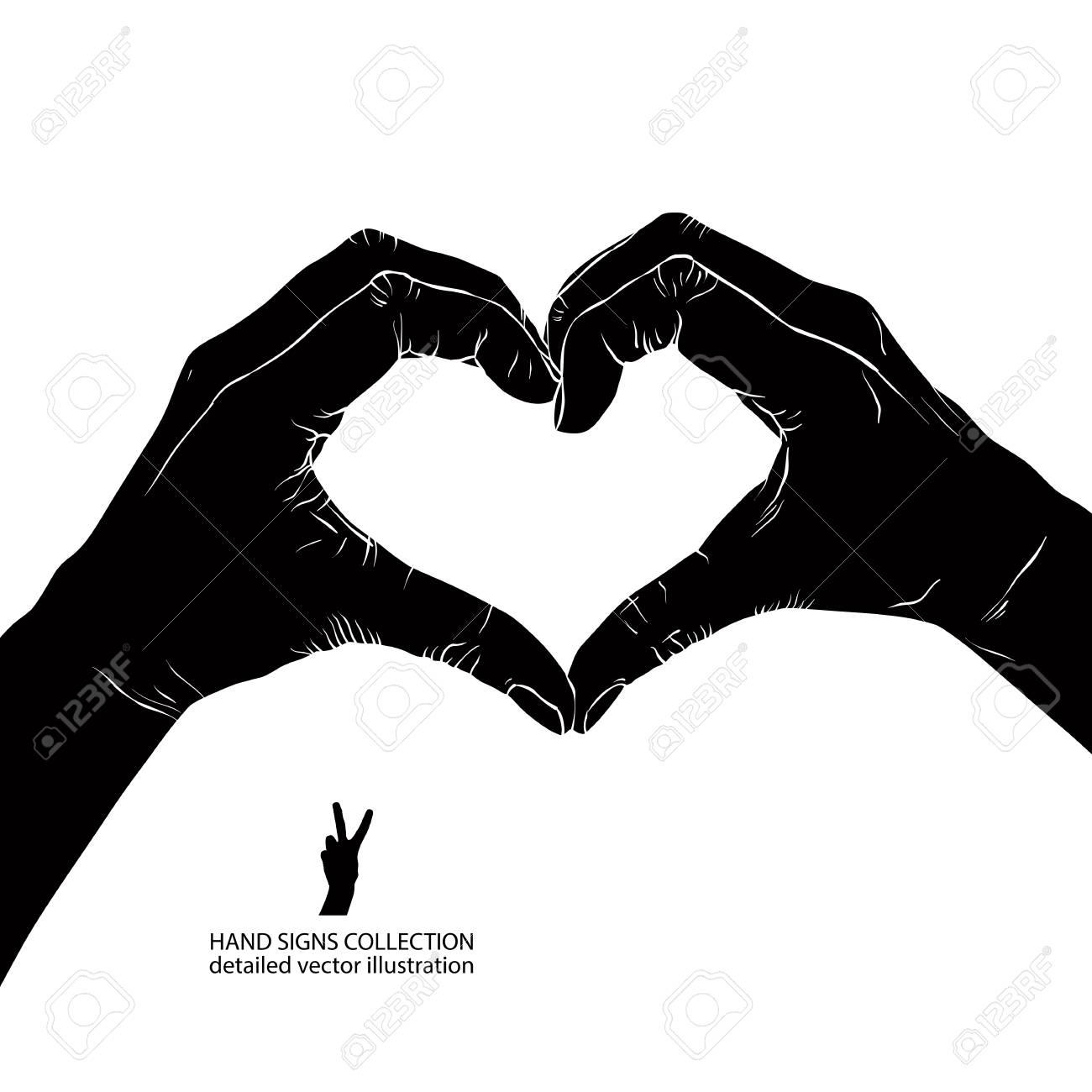 Image Coeur Noir Et Blanc mains sous forme de coeur, noir et blanc détaillé illustration