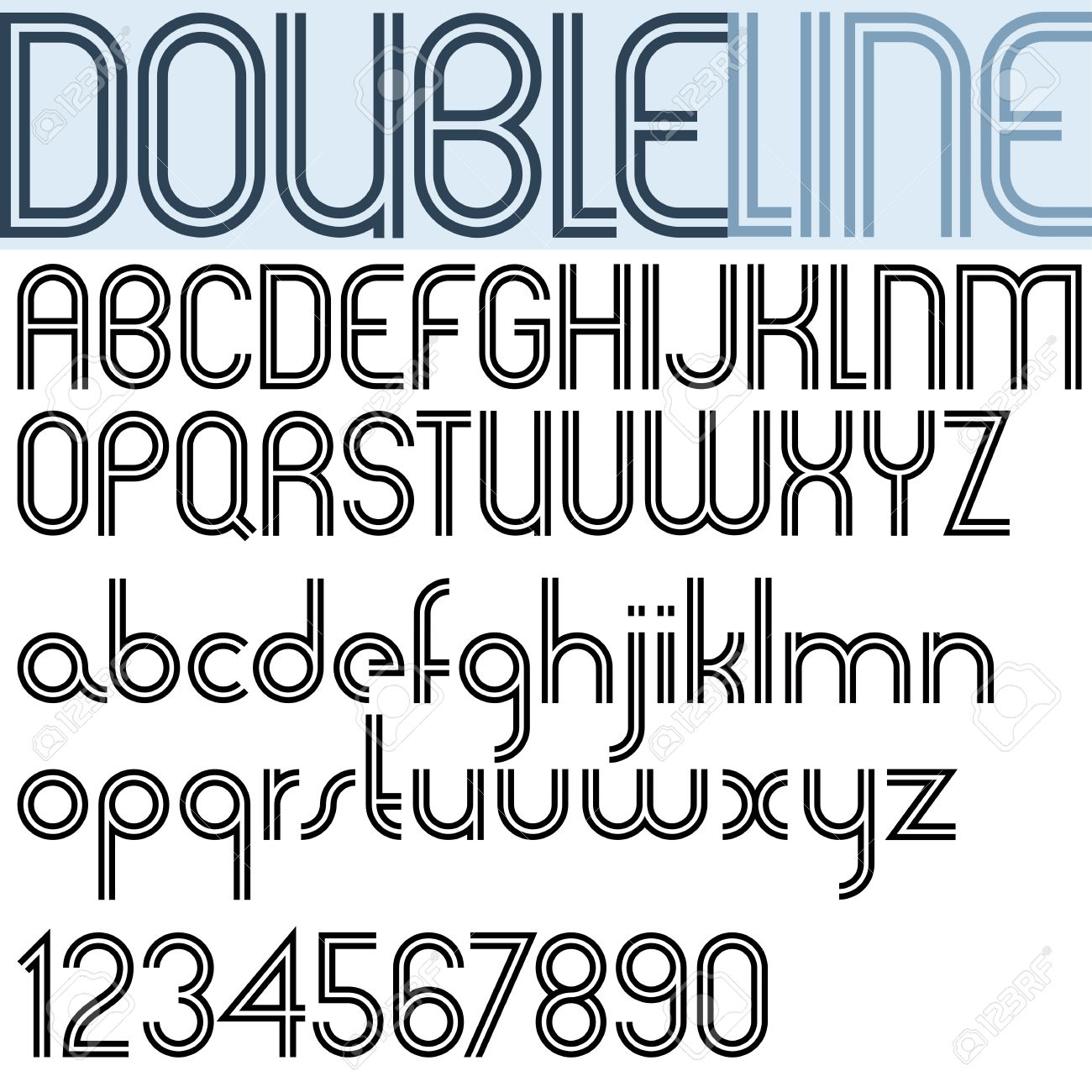 Double Line Retro Style Geometric Font Light Version Trendy And Stylish Letters Alphabet