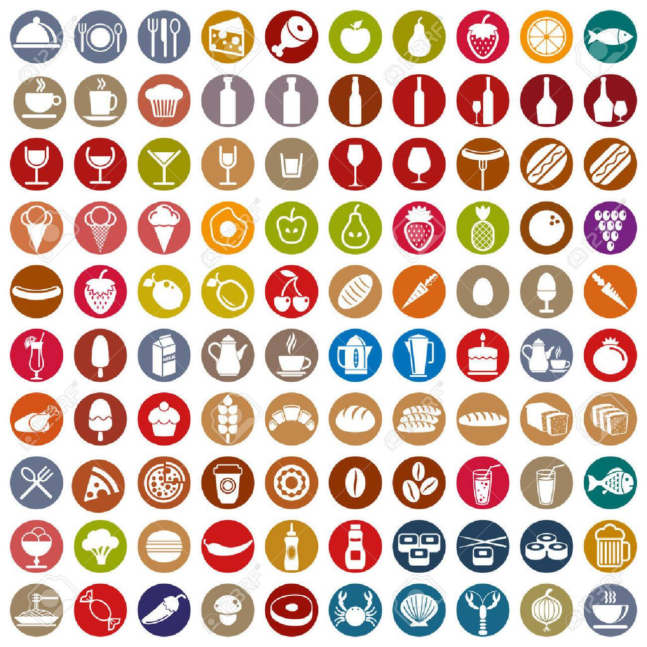 100 food and drink icons set, color vectors collection. Stock Vector - 30275668