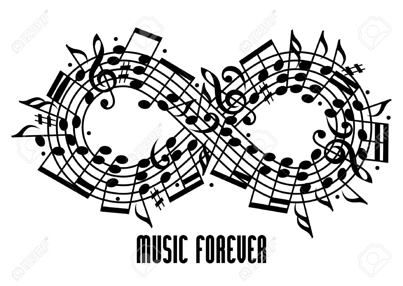 Forever music concept black and white design infinity symbol forever music concept black and white design infinity symbol made with musical notes and treble biocorpaavc Gallery