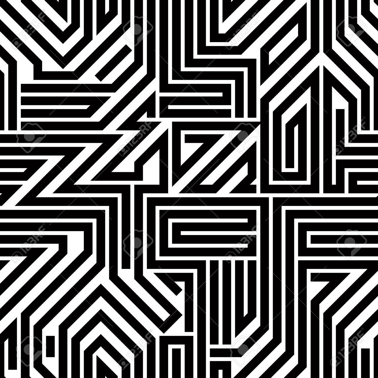 abstract circuit board black and white seamless pattern geometric