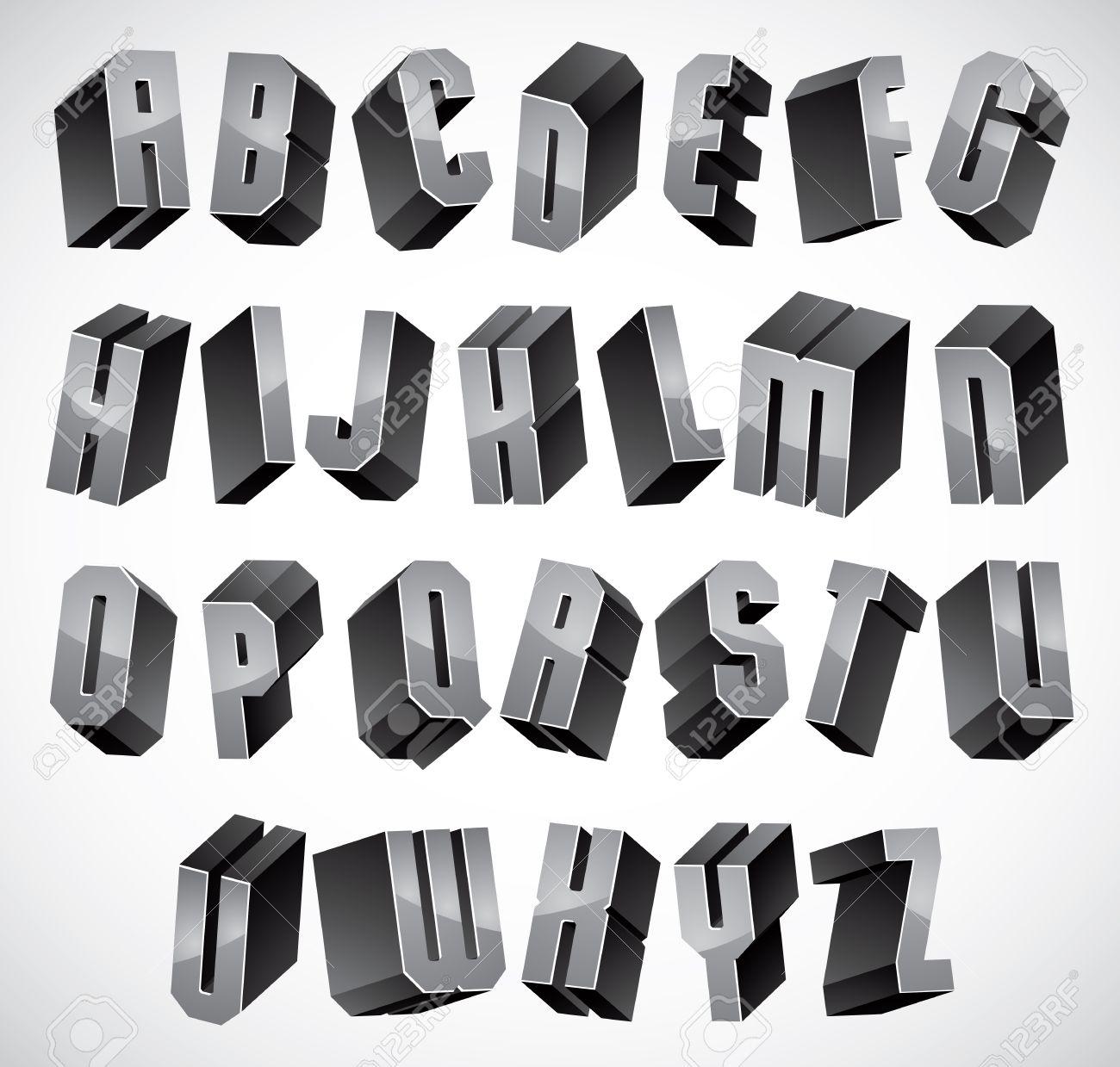 3d Font, Geometric Dimensional Letters Set, Monochrome Alphabet ...