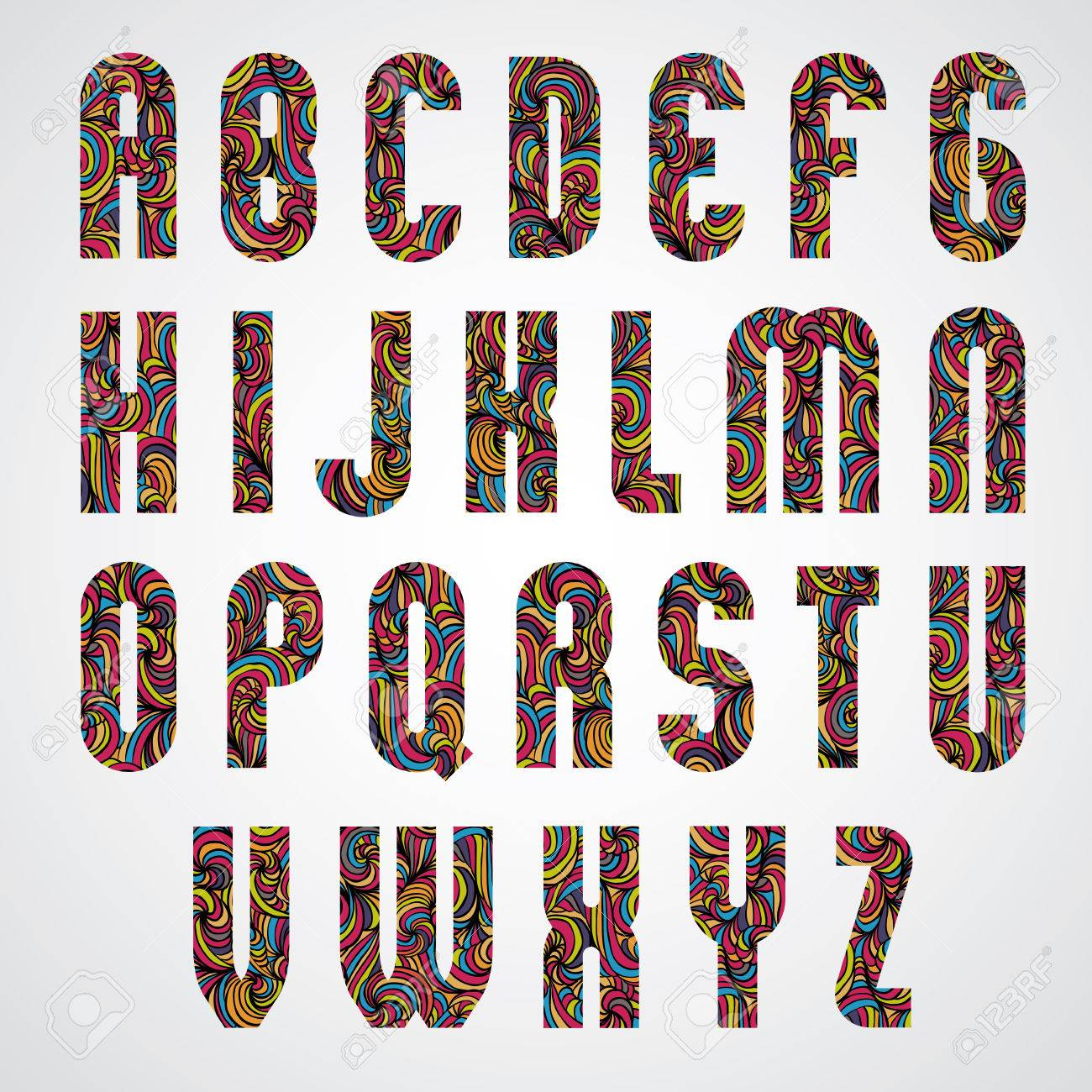 Trendy Bold Condensed Alphabet Letters Design Decorated With