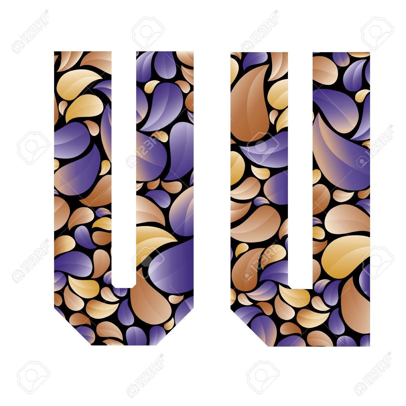 Schöne Floral Alphabet Vintage Stil Gemusterten Blütenblättern