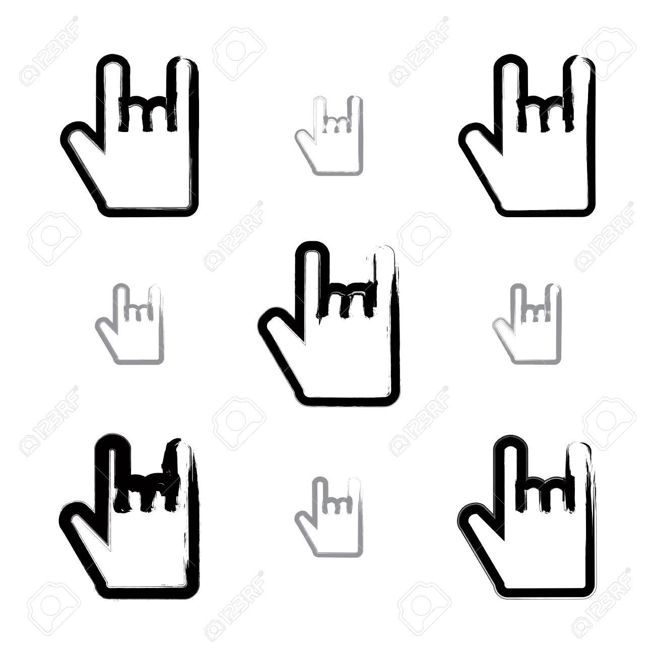 Set of brush drawing simple vector rock on icons hand painted set of brush drawing simple vector rock on icons hand painted rocker symbols isolated biocorpaavc Image collections