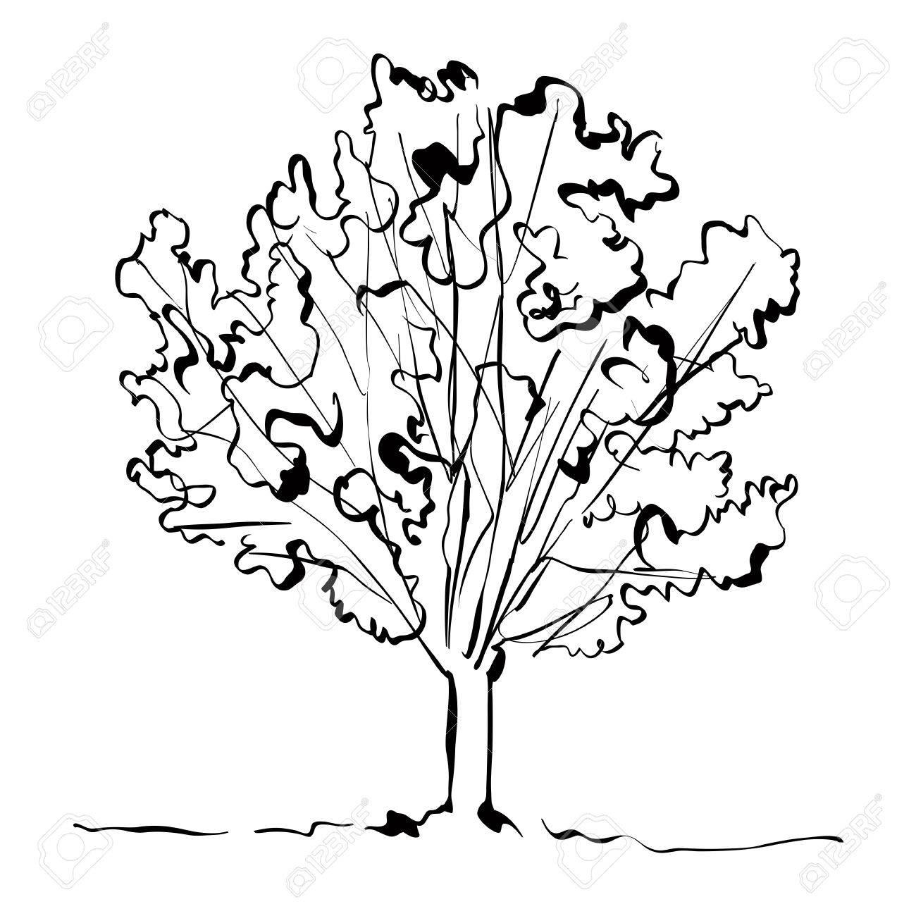 モノクロの白い背景にシンプルなイラストで描かれた木を手しますの