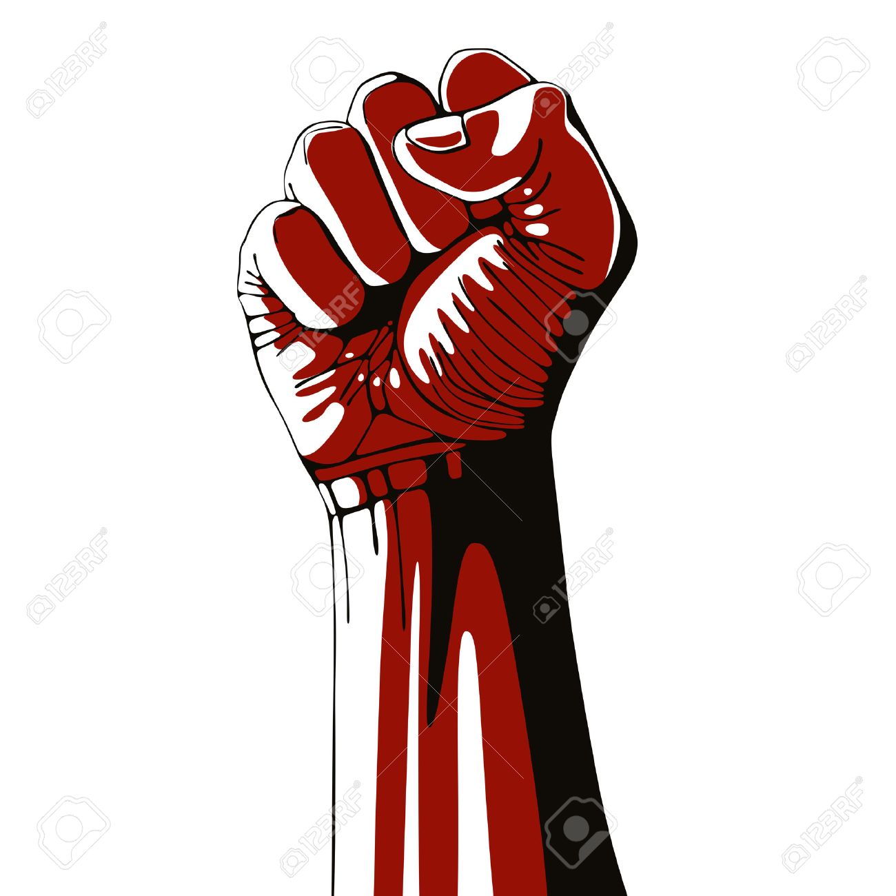 Clenched fist held high in protest isolated on white background, vector illustration. Stock Vector - 31990300