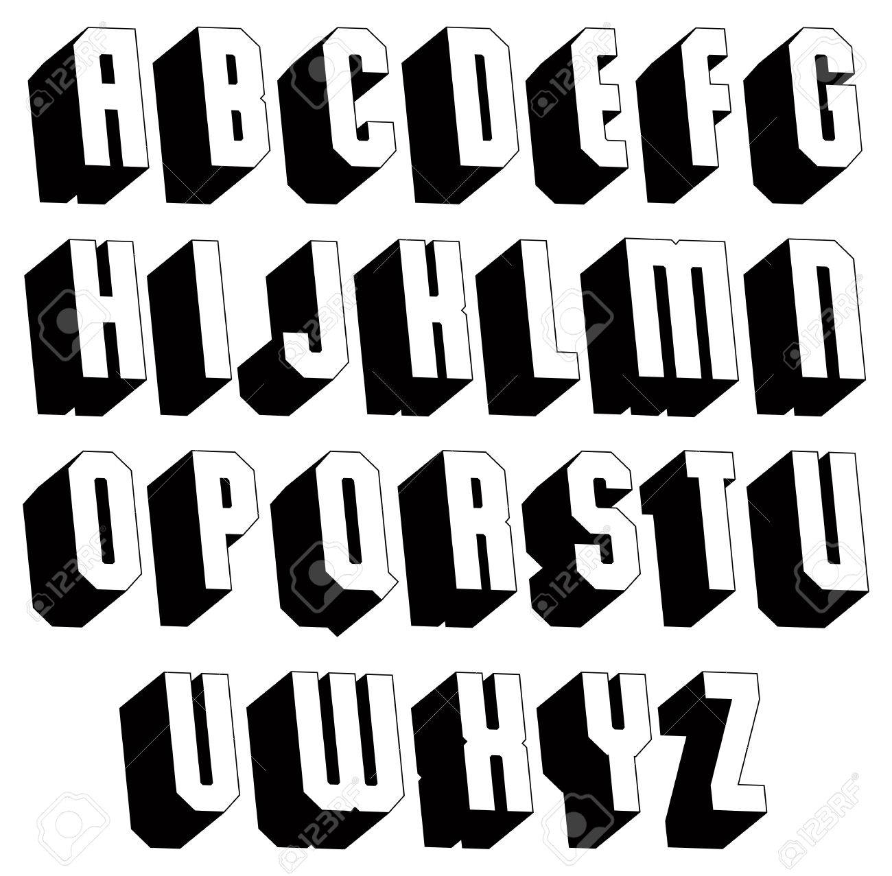 Geometric Black And White 3d Font Single Color Simple Bold Heavy Letters Alphabet