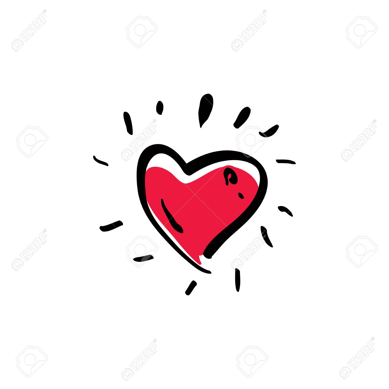 Illustrated red love heart isolated on white background, vector valentine icon. Stock Vector - 31988590