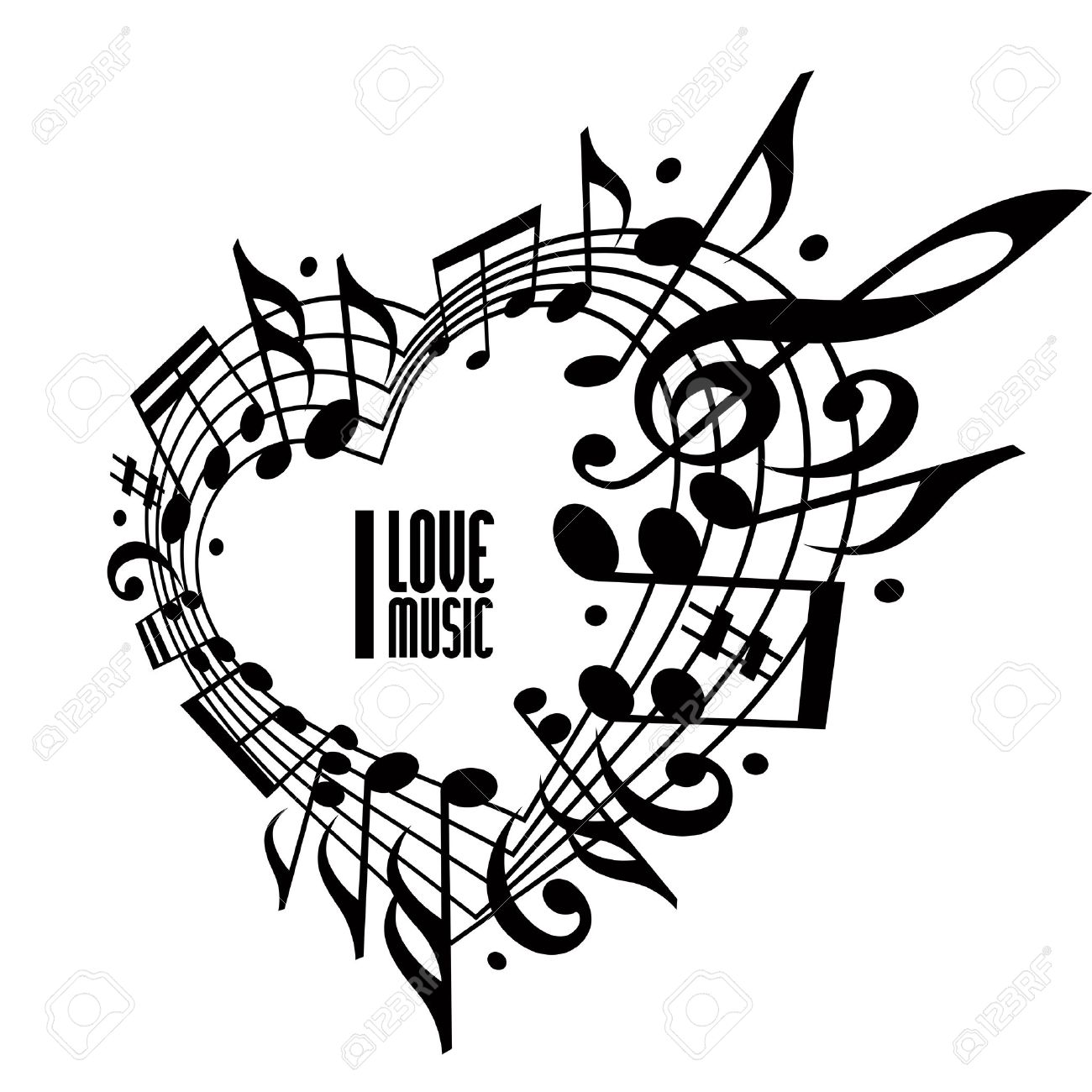 I love music concept, black and white design. Heart made with musical notes and clef, black and white design, contain copy space inside for your text, music theme vector design template. Stock Vector - 31986428
