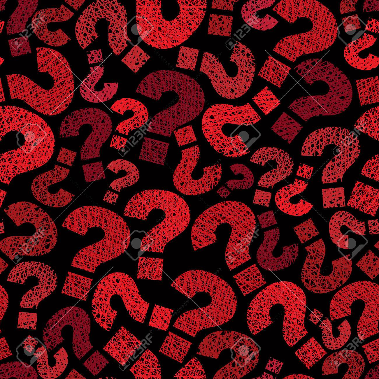 Question marks seamless pattern, vector, hand drawn lines textures used. Stock Vector - 31985275