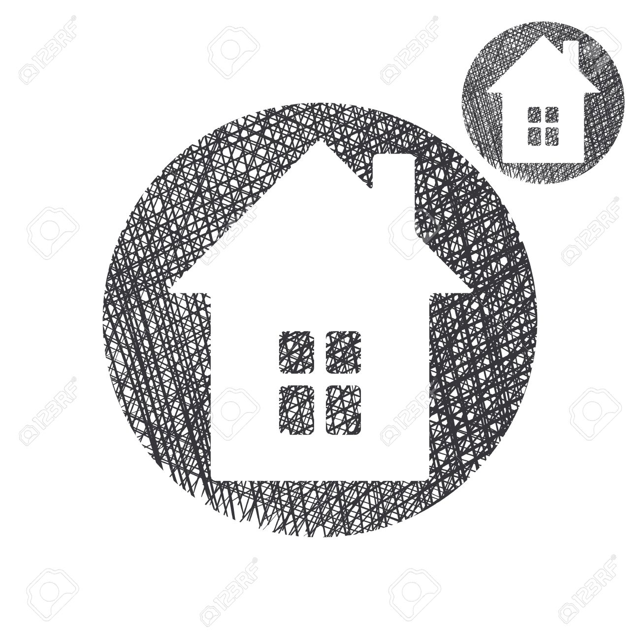 House simple single color icon isolated on white background with sketch lined hand drawn texture