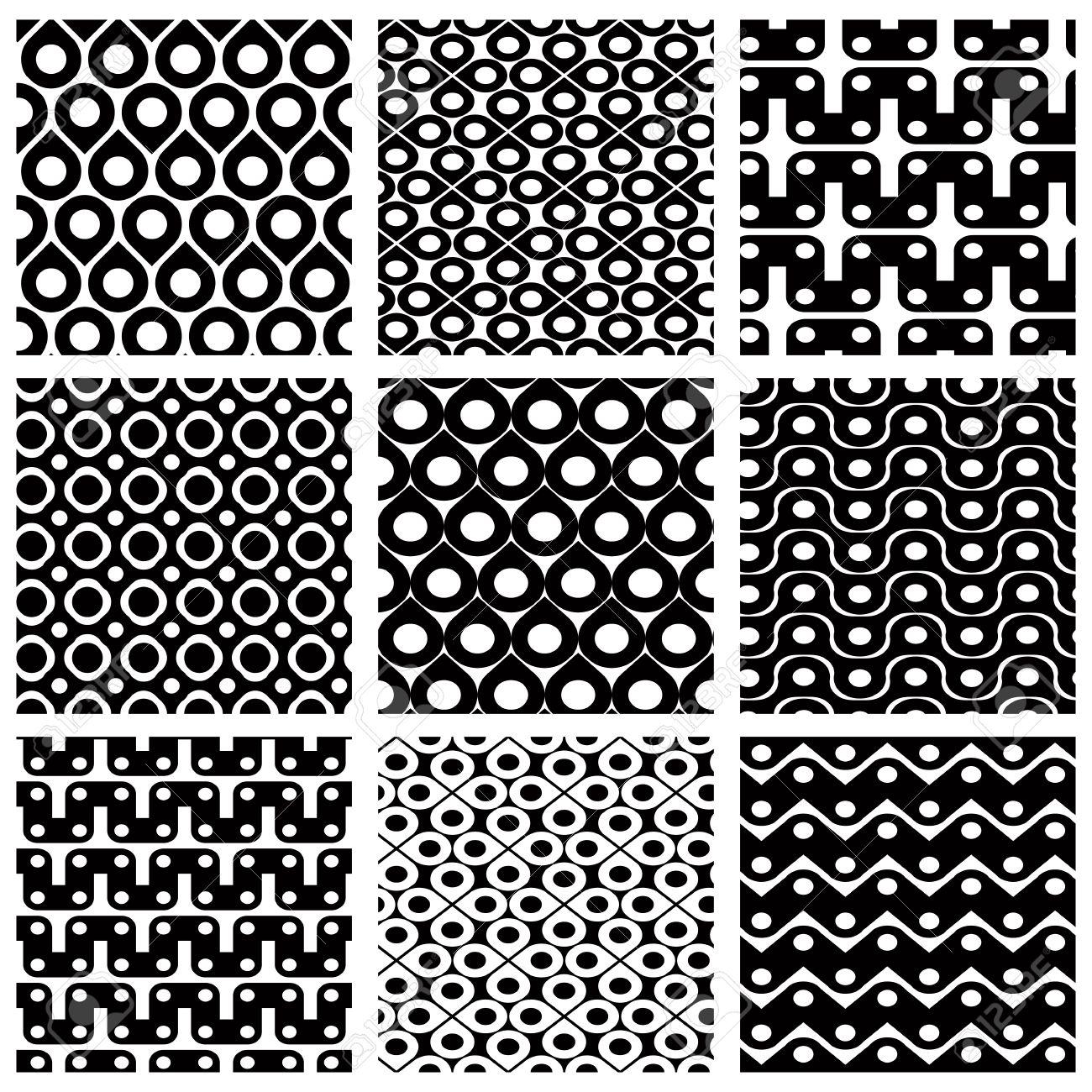 Conjunto De Rejilla Patrones Transparentes Con Figuras Geométricas ...