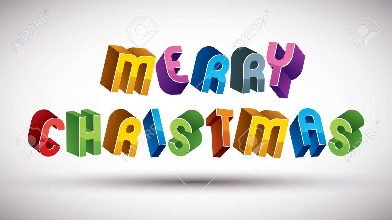 Buon Natale 3d.Vettoriale Buon Natale Biglietto Di Auguri Con La Frase Fatta Con