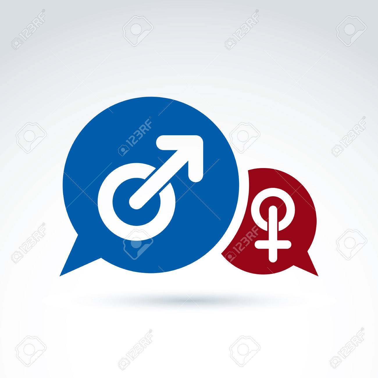 Speech Bubbles With Blue Male And Red Female Signs Gender Symbols