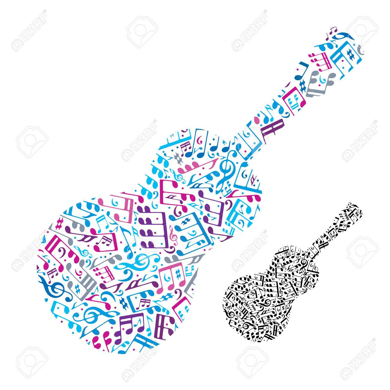 Bright Vector Acoustic Guitar Filled With Musical Notes Decorative