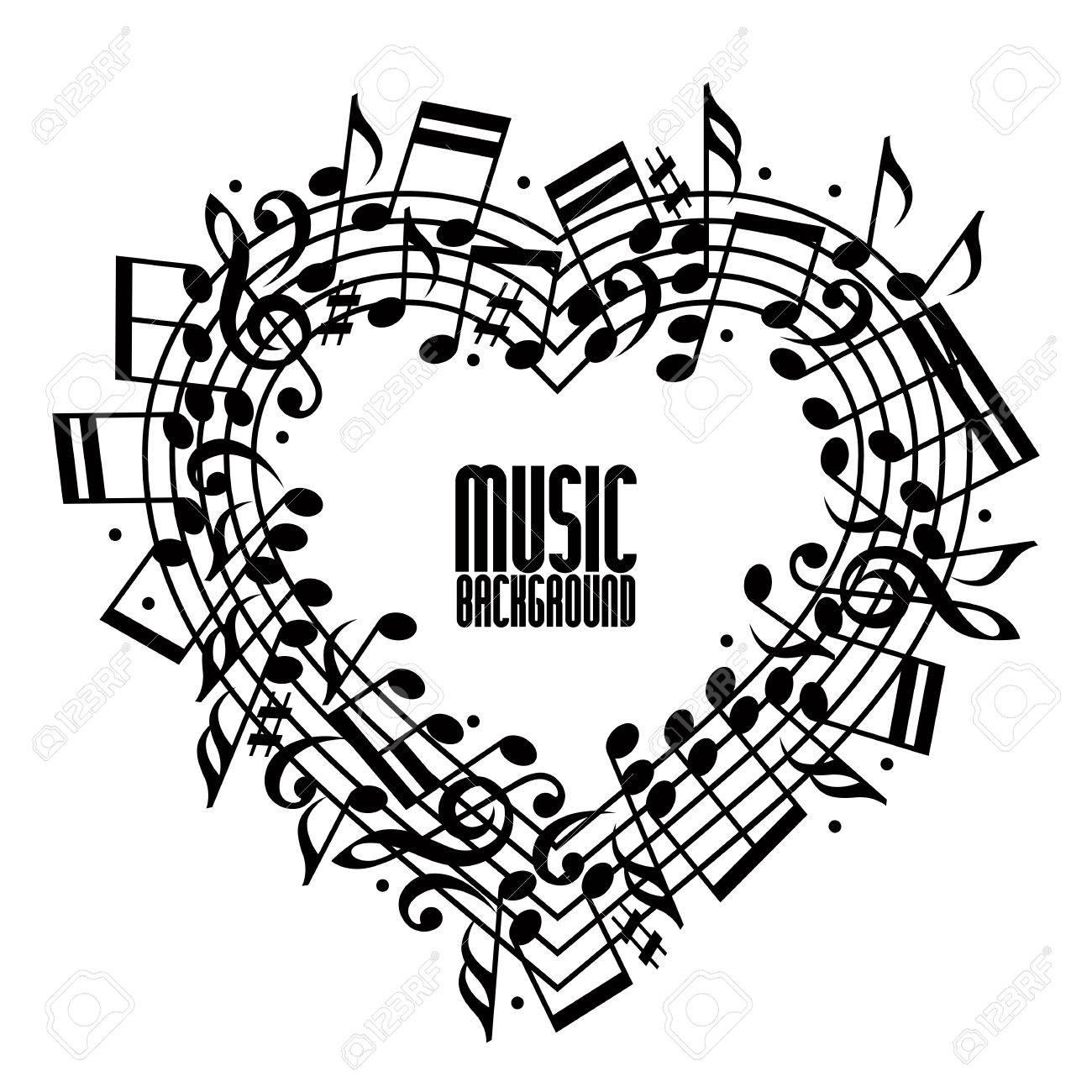 Vector Negro Redondeado A Evitar Con Las Notas Musicales Sobre Fondo