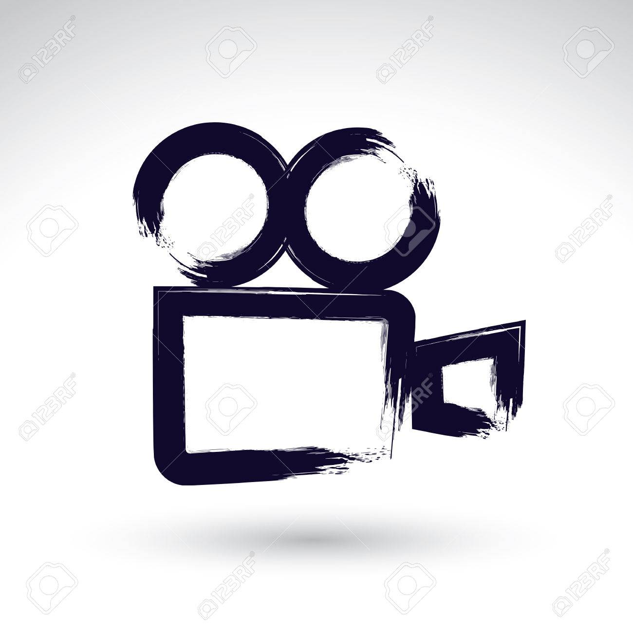 Realistic Ink Hand Drawn Vector Video Camera Icon Simple Painted Symbol
