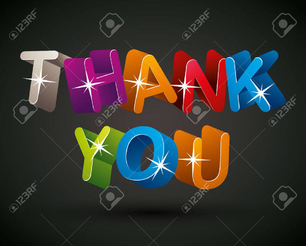 Thank you lettering made with colorful 3d letters over dark background, vector design. Stock Vector - 32658955