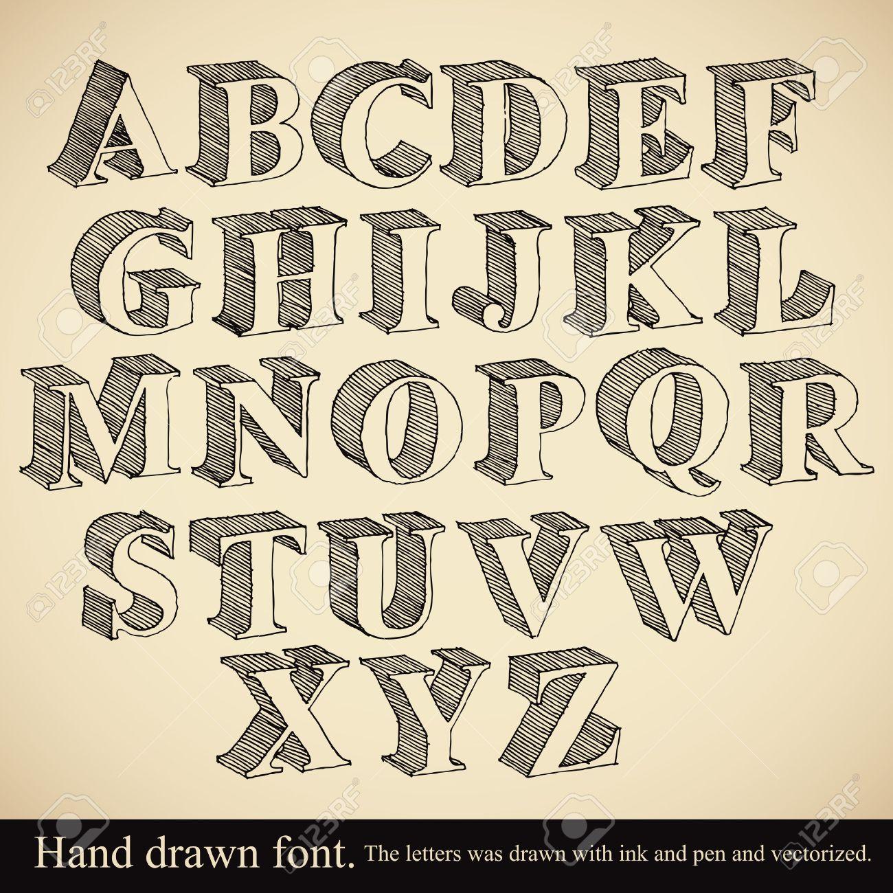 Hand drawn 3d font, vector alphabet vintage style. Stock Vector - 32660592
