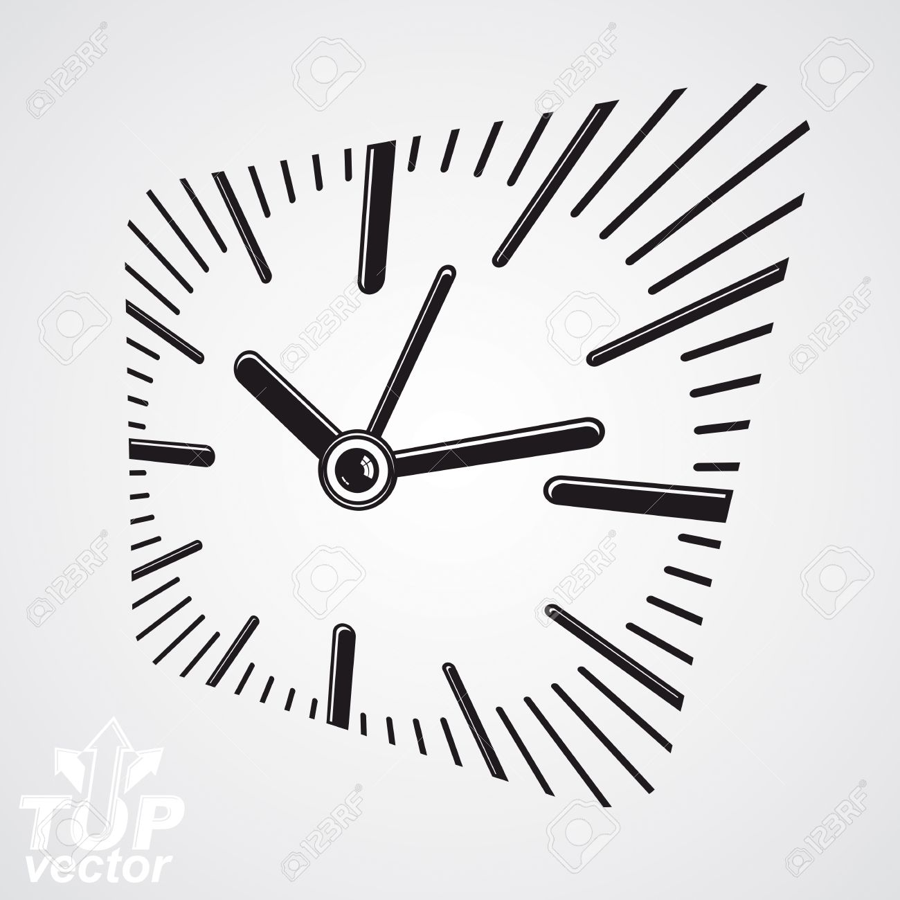 3d Vector Square Wall Clock With Dial And An Hour Hand. Time ...