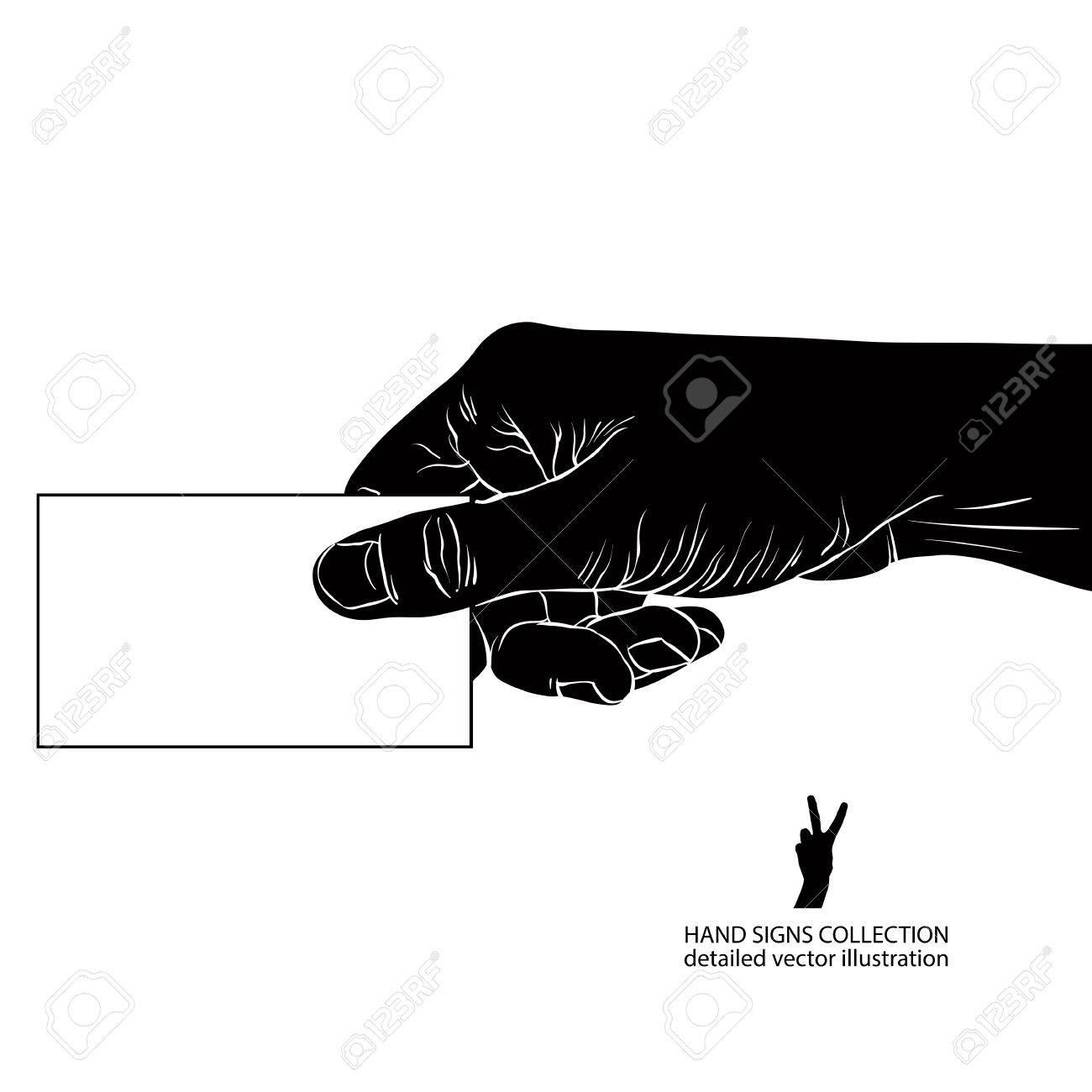Hand Giving Carte De Visite Noir Et Blanc Illustration Vectorielle