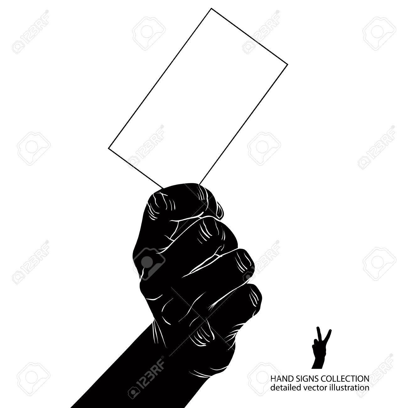 Main Avec Carte De Visite Noir Et Blanc Illustration Vectorielle