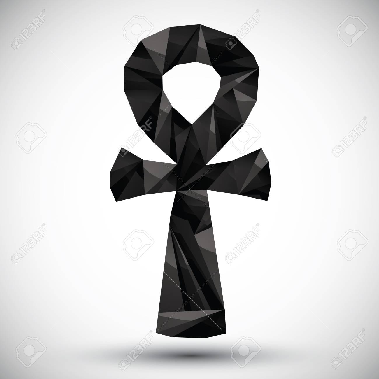 black ankh symbol egyptian word for life geometric icon made