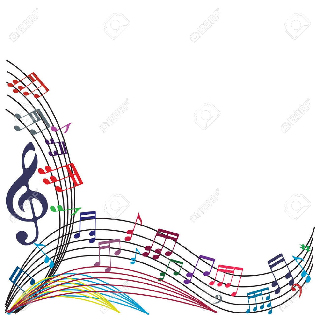 Music notes background, stylish musical theme composition, vector illustration. Stock Vector - 33609781