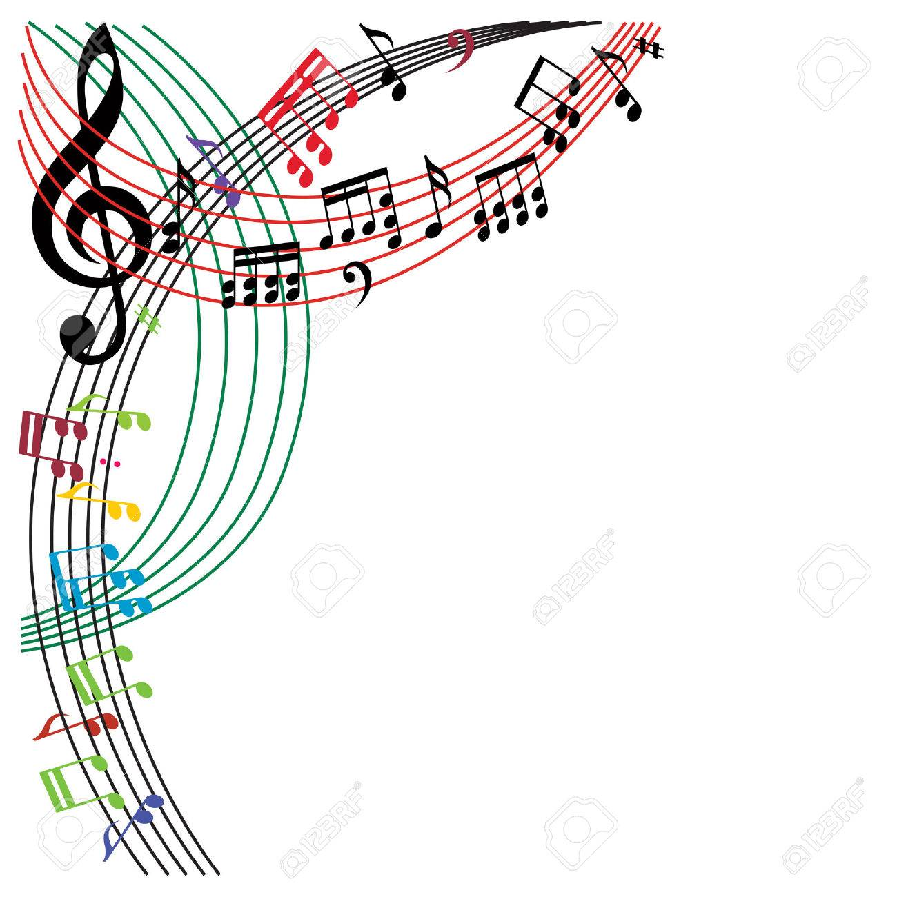 Music notes background, stylish musical theme composition, vector illustration. Stock Vector - 33614193