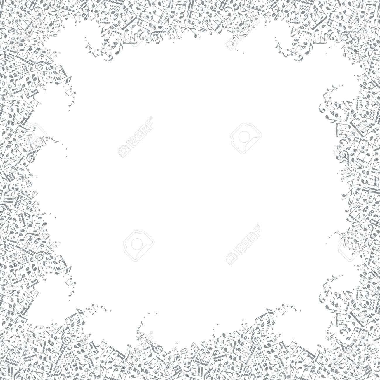 Vector Monocromática Encuadre Con Rayas Notas De Medios Tonos
