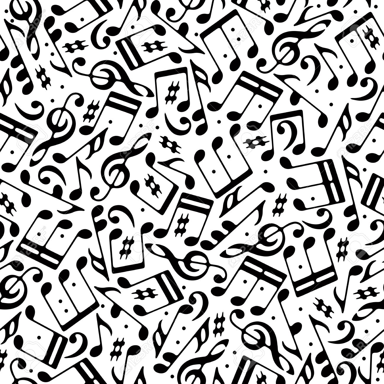 Vector black musical notes and treble clefs seamless pattern on white background. Stock Vector - 33614728