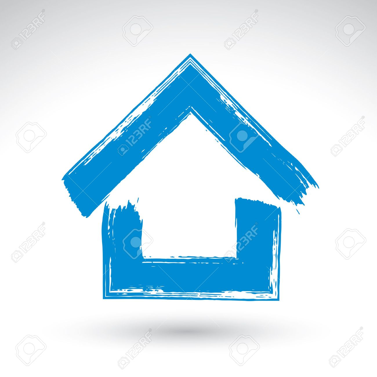 Hand drawn blue country house icon, estate logotype, brush drawing simple cottage sign, hand-painted house symbol isolated on white background. Stock Vector - 33619936
